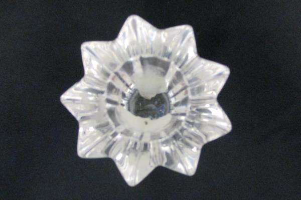 """Set of 2 Elegant Starburst Design Crystal Taper Candle Holders 8"""" and 10"""""""