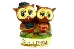 "Vintage 1976 Spencer Gifts Two Brown Owls "" A Wonderful Pair"" Made in Japan"