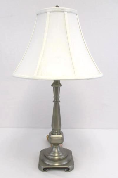 "Brushed Steel Decorative Table Lamp 25.5"" With White Shade Square Base"