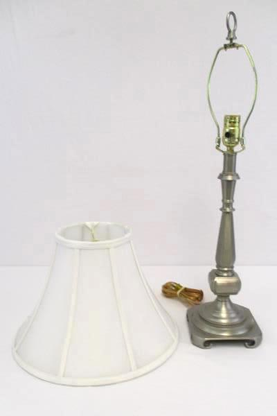 """Brushed Steel Decorative Table Lamp 25.5"""" With White Shade Square Base"""