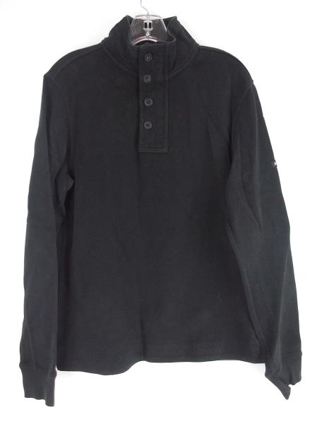 BEN SHERMAN 1/4 Zip Sweater w/ Buttons Cotton Blend Pullover Jacket Black Mens M