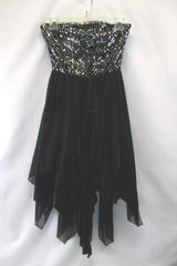 Love Reign Black and Silver Dress Sleeveless Strapless Size 3 Little Black Dress