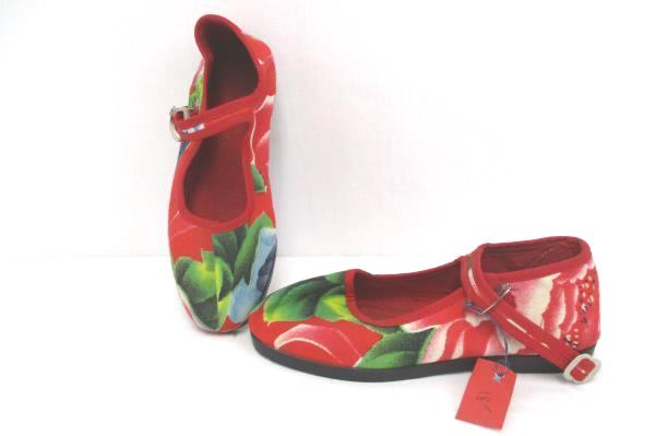 Vintage Child's Asian Floral Red Mary Jane Style Dress Shoes Youth Girls 13 US