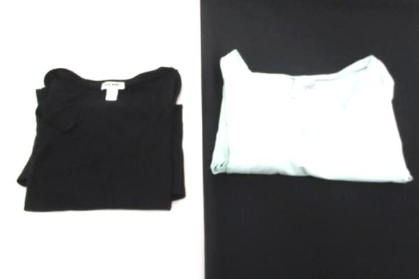 Lot of 2 Old Navy H&M Blue Black Short Sleeve Sleeveless Stretch Tops Women's L