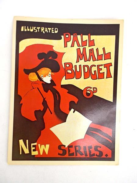 VTG 66 PALL MALL Art Nouveau Illustrated Giant Post Card Cigarette Advertisement