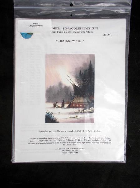 LONE DEER Sonagolese Design American Indian Cross Stitch CHEYENNE WINTER LD-9641