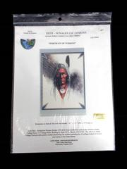 LONE DEER Sonagolese Design American Indian Cross Stitch PORTRAIT OF WISDOM 9904