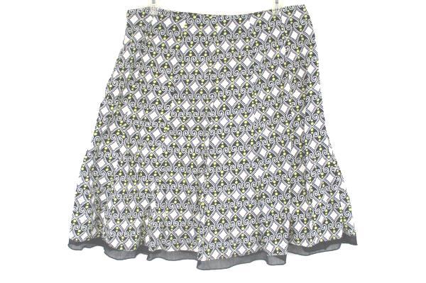 Women's Plus Style & Co.A-Line Black White Yellow Skirt Geometric Pattern Sz 18