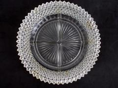 Vintage Imperial Anchor Hocking  Divided Glass Relish  Dish Round Star Burst
