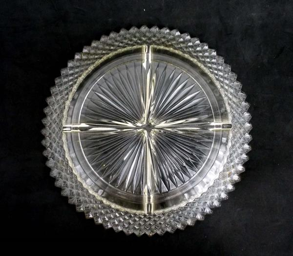 Vintage Imperial Anchor Hocking Etched Divided Glass Dish Round Star Burst