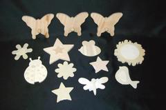Wooden Block Shapes Lot of 13 - Bugs & Stars With Butterfly Coat Hanger