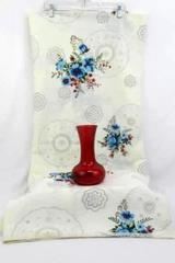 Lot Of 2 Table Decorations ~Red Glass Vase W/ Red Blue Floral Tablecloth Dinning