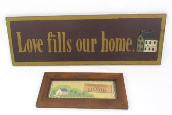 Lot of 2 Home Wall Decorations Framed Picture Wooden Entryway Sign