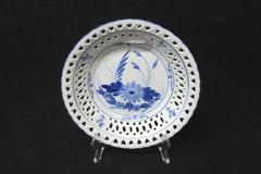 Vintage Blue and White Lattice Design Ceramic Hanging Bowl Hearts Flowers Decor
