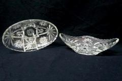 2 Piece Vintage Depression Glass Serving Dishes Starburst Daisy Oval Bowl Relish