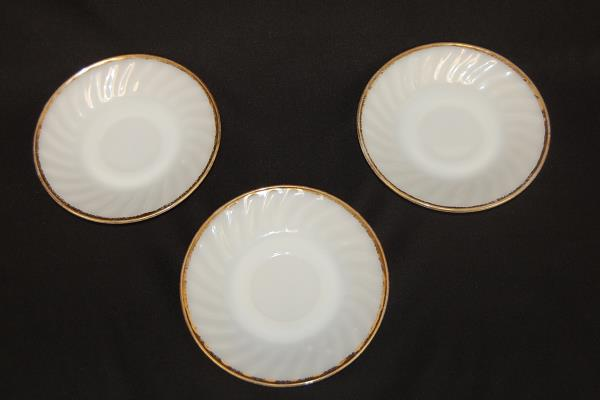 Set of 3 Anchor Hocking Fire King Milk Glass Swirl Gold Rim Cup & Saucer