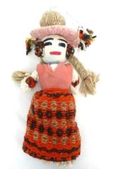 Unique Multicolored Yarn Doll With Hat Folk Art Collectible Quality Handmade