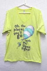 Sorority T Shirt Phi Sigma Sigma Yellow V Neck Oh The Places You'll Go Women's L