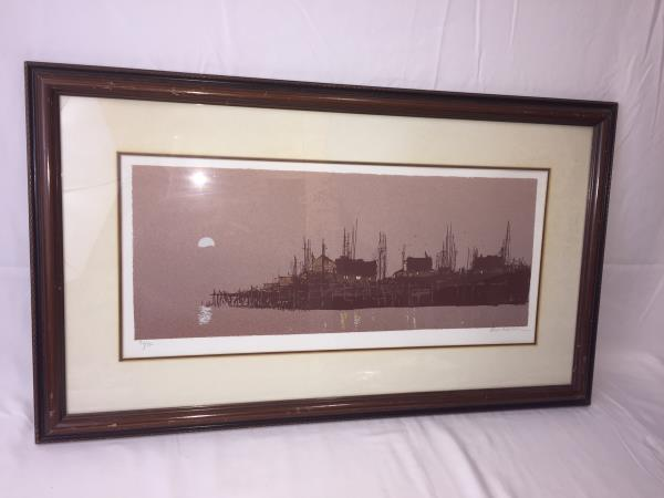 Signed Original Serigraph by Michealson 76\150 Framed Evening Wharf with COA