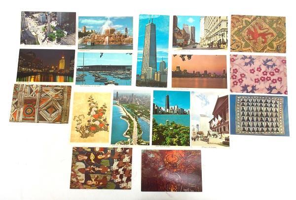 Vtg 17pc Lot Chicago Postcards Fountain Skyline Museums Art Landmarks 60s - 70s