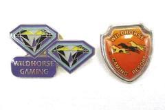 Lot of 2 Wildhorse Gaming Pins Resort Horse Diamonds Purple Orange Enamel