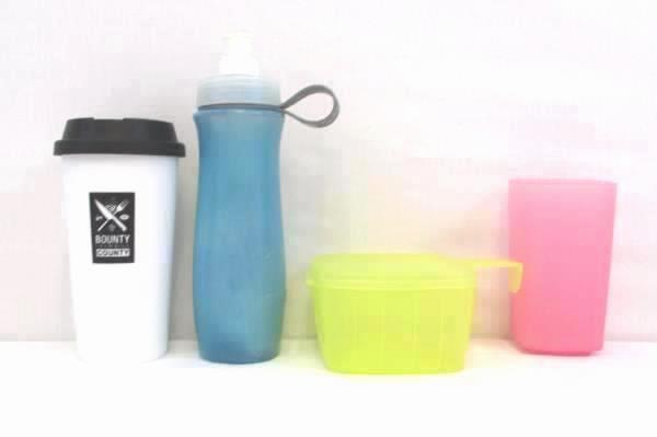 Lot of 4 Plastic Cups Tupperware Water Bottle Coffee Outdoor Camping School