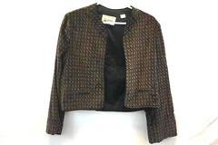 Woman's Blazer Custom Tailored by Nardis of Dallas Brown Blue Geometric Medium