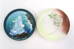Lot of 2 Hand Painted Plates Norma Beauty Rose DeWitt La Lufadora Mexico