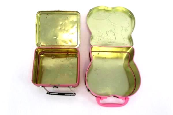 Lot of 2 Pink Metal Lunchbox Tin Strawberry Shortcake and Tweety Bird Surprise