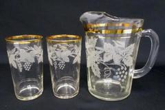 Vintage Clear Glass Pitcher & 2 Glasses Embossed Grapes Vines Gold Gilt Trim