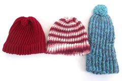 Lot of 3 Handmade Hats Crochet Pink Blue Red Children's One Size Fits Most