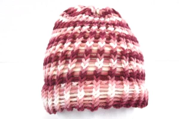 Lot of 3 Handmade Children's Hats Crochet Pink Blue Red One Size Fits Most