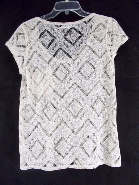 KIMCHI BLUE Boho Scoop Neck Lace Top Short Sleeve Shirt w/ Pocket Size M