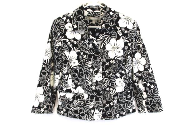 Women's Black and White Floral Textured Croft & Barrow Career Blazer Size 10