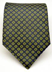 GIANFRANCO RUFFINI Green and Blue 100% Pure Silk Neck Tie, Made in USA
