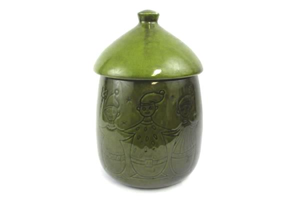 Green Elf Elves Christmas Cookie Jar With Lid Large Ceramic Pottery