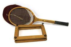 Vintage Hammer Wooden Tennis Racket With Cover & Protector Signed Arnold Roth