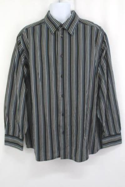 Ratio Claiborne Company Men's Button Up Shirt Stripped Long Sleeved Size XXL