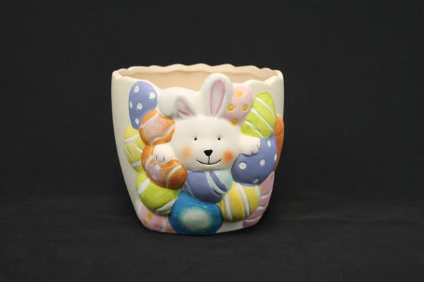 "Easter Bunny With Decorated Eggs 4"" Hand Painted Ceramic Planter Spring Decor"