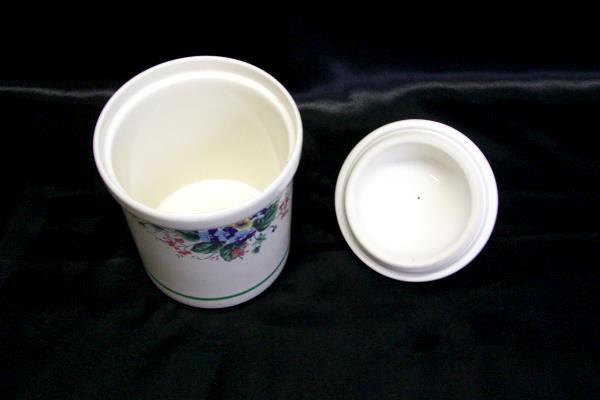 Vintage Linden Ivy Ceramic Canister Set of 2 1991 HMK Floral Green Cream