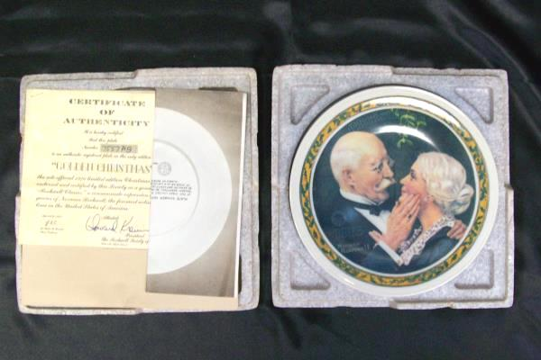 Norman Rockwell Golden Christmas Collector Plate Knowles COA