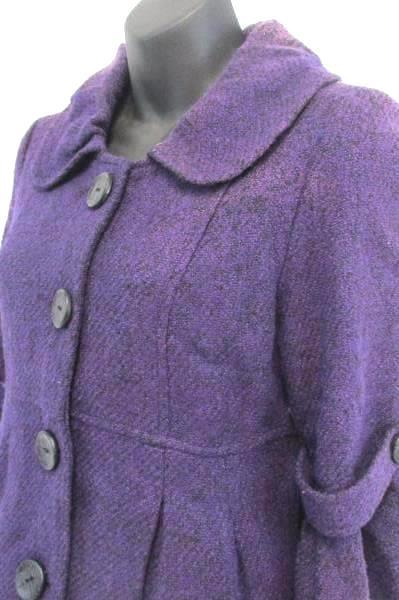 Purple Peacoat Jacket Girl Youth Size SM Lined Large Buttons Flare Sleeve
