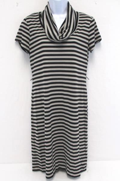 Liz Claiborne Stretch Striped Dress Black and Grey Above Knee Cowl Women's Sz 6