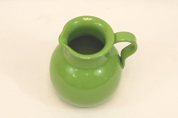 "Vibrant Green Glazed Pottery Pitcher Made In Italy 7.5"" Tall Kitchen Home Decor"