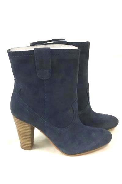 B. Makowsky Blue Suede Coachella Ankle Boots Bootie B FLOKIE Size 5 M