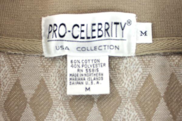 Men's Pro-Celebrity Polo Shirt Tan Cream Geometric Cotton/Poly Size M