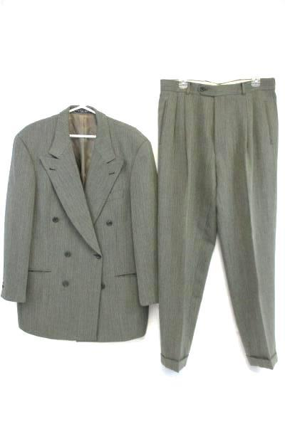 Hugo Boss Gray Tweed Herringbone Wool Pleated Front 2 Piece Suit 44L 36 x 31