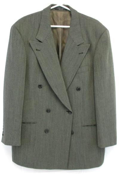Hugo Boss Gray Tweed Herringbone Wool Pleated Front 2 Piece Suit 44L 36 x 31