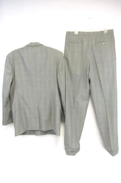 Executives Closet 2 Piece Suit Custom Tailored Gray Checkered Men's 44L 36W 34L