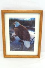 Metallic Foil Print Bald Eagle Perched on Log by Lake Daniel Renn Pierce Signed